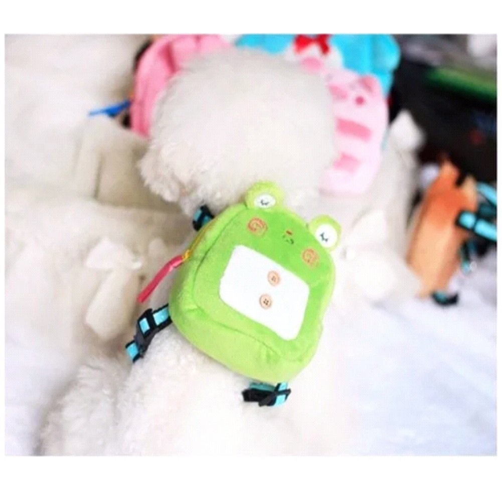 Stock Show Pet Dog Cartoon Backpack Harness with Leash, Puppy Dog Cute Animal Back Pack Saddle Bags with Lead Leash for Dog Outdoor Training Walking Green Frog)