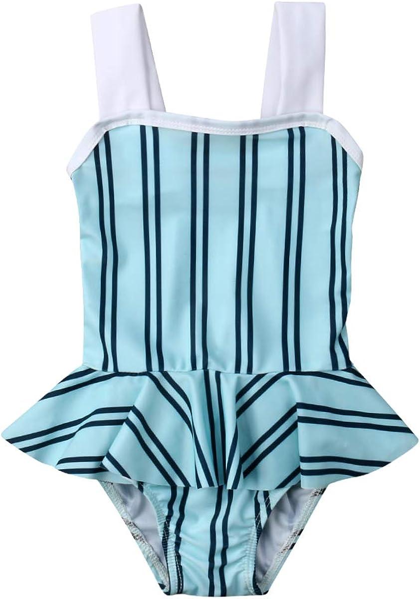 Baby Girl Two-Piece Swimsuits Swimwear Cute Stripes Halter Bikini Tops+Brief Bikini Set Toddler Kids Girl Bathing Suit