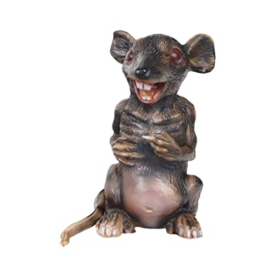 molezu Giant Rubber Standing Rat, Spooky Mouse with Red Eyes and Sharp Teeth, Creepy Halloween Haunted Decoration Mice, Brown, 9.4 inches : Garden & Outdoor