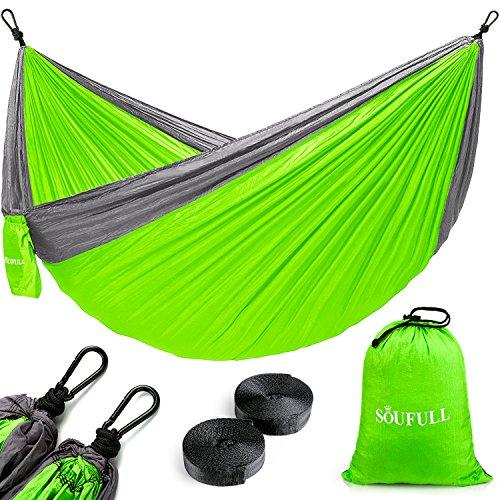 Soufull Camping Hammock with Hammock Tree Straps&Carabiners,Portable Parachute Nylon Hammock for Backpacking (Parachute Nylon Travel Hammock)