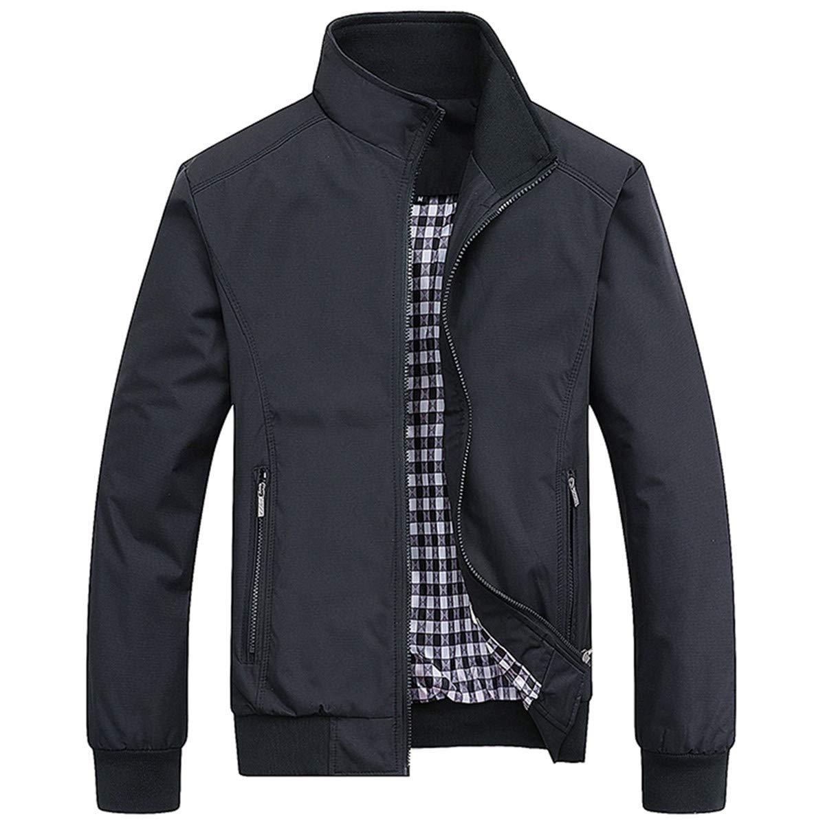 PERDONTOO Men's Casual Jacket Outdoor Windbreaker Lightweight Bomber Jackets (Medium, Black) by PERDONTOO