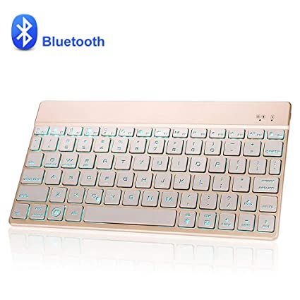 Dingrich Teclado Inalámbrico Bluetooth, Universal Teclado 7 Colores Retroiluminados para Tabletas y iPad, Sistemas iOS, Android y Windows (Oro)