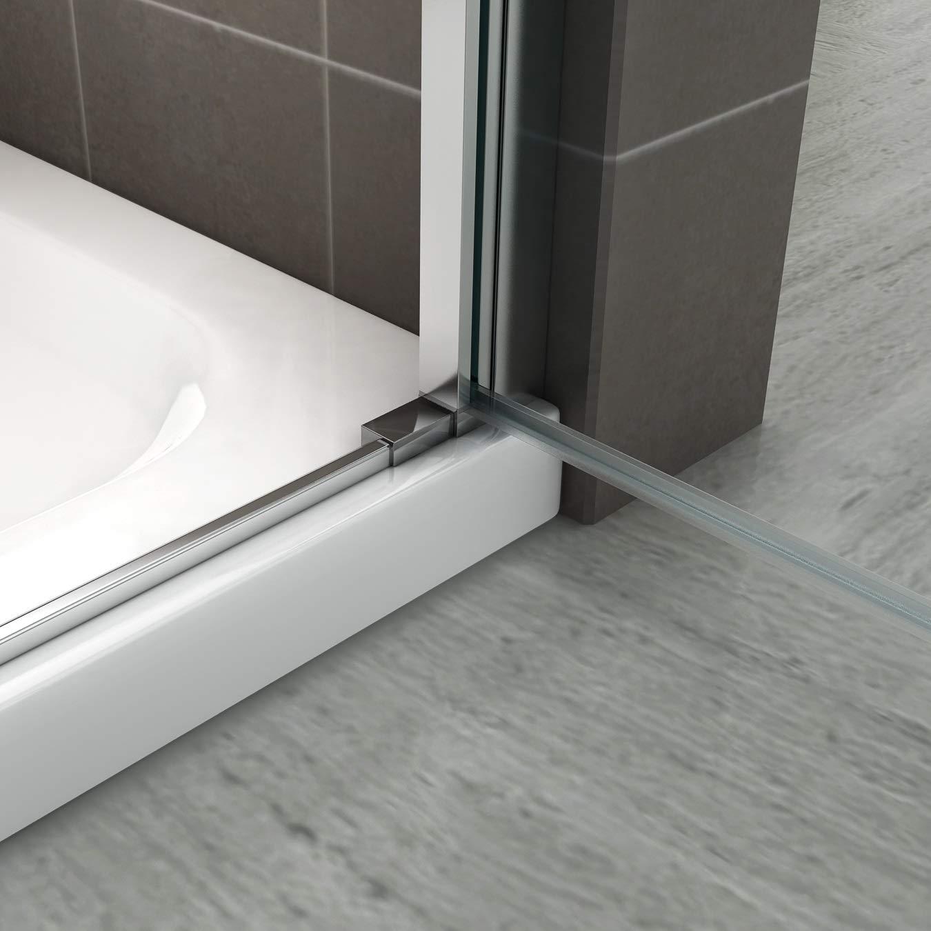 H/öhe: 185 cm NC i-flair Duscht/ür 89x185 cm Verstellbereich von 89-92 cm Duschabtrennung aus 6 mm durchsichtigem ESG Sicherheitsglas mit Nanobeschichtung und Edelstahlgriffe