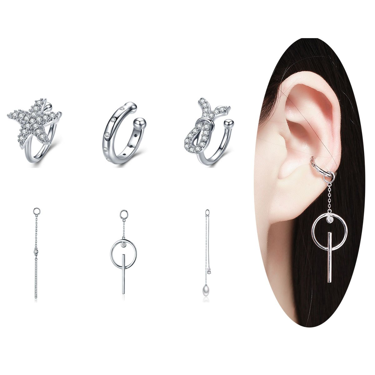 BAMOER 925 Sterling Silver DIY Ear Cuff Cartilage Earrings Set for Women White Gold Plated Fashion Wrap Earrings ECE085+GiftBag