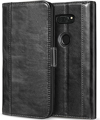 ProCase LG V30 Genuine Leather Case, Vintage Wallet Folding Flip Case with Kickstand Card Holder Protective Cover for LG V30, LG V30 Plus, LG V30S ThinQ, LG V35, LG V35 ThinQ -Black
