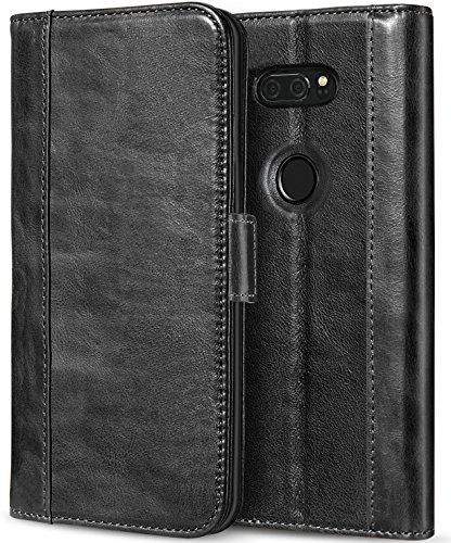 ProCase LG V30 Genuine Leather Case, Vintage Wallet Folding Flip Case with Kickstand Card Holder Protective Cover for LG V30, LG V30 Plus, LG V30S ThinQ, LG V35, LG V35 ThinQ -Black (Leather Case Access Phone Lg)