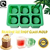 IC ICLOVER Silicone Ice Shot Glass Mold, 6 Cups Square Green Ice Cube Tray, Jelly Tray, Chocolate Mold, Food Grade Silicone Ice Shot