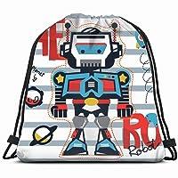 cartoon hero robot galaxy on striped science 3D Print Drawstring Backpack Rucksack...