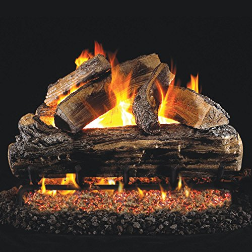 Peterson Real Fyre 18-inch Split Oak Gas Log Set With Vented Natural Gas G45 Burner - Manual Safety Pilot