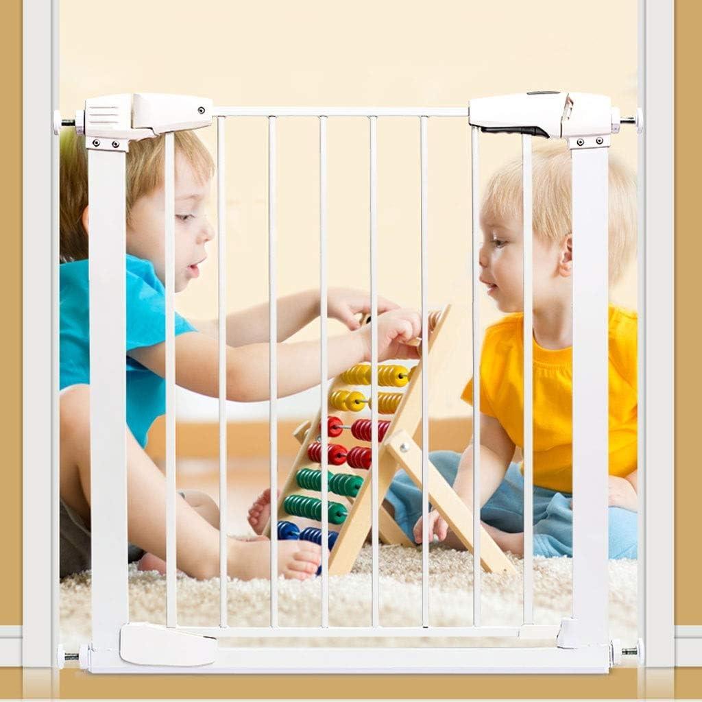 ベビーフェンス 階段出入り口屋内ホワイトメタル簡単に開放ベビーゲート圧力に対するペットドアが取り付けられています ペットゲート (Size : 75-76cm)