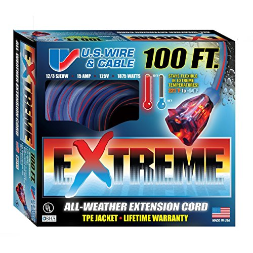 US Wire 99100 12/3 100-Foot SJEOW TPE  Extreme Weather Extension Cord Blue with Lighted Plug -
