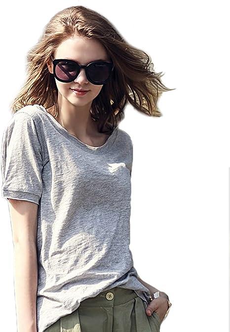 Butterme décontractée camisa lâches manga corta en algodón peinado Mujer Pure Colour camisa de manga corta cuello redondo blusa camiseta, gris: Amazon.es: Deportes y aire libre