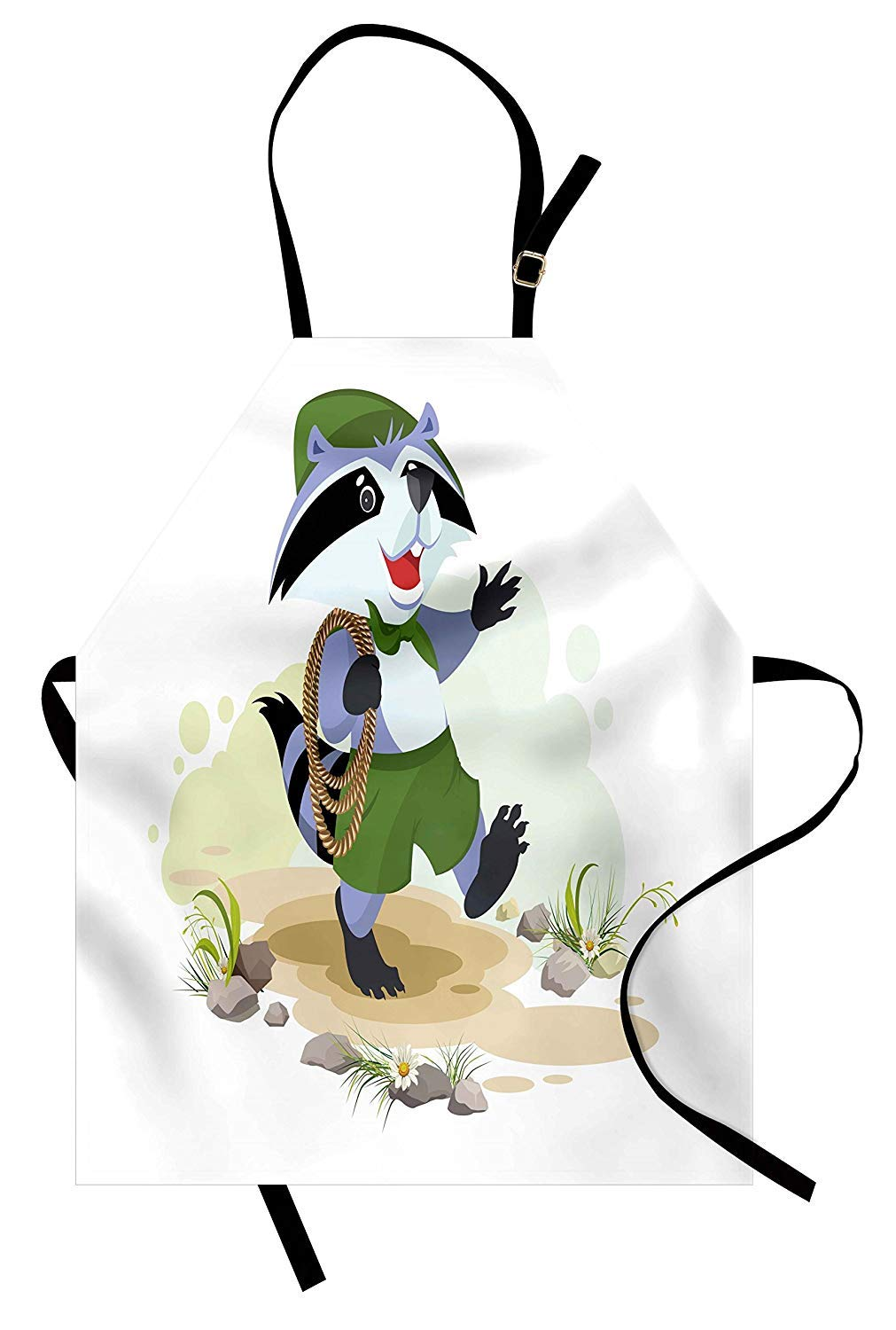 T&H Home Raccoon Apron, Comic Animal Scout Carries Rope Walking in The Forest Boy Camping Joyful Cartoon, Unisex Kitchen Bib Apron Adjustable for Kids Adults Cooking Baking Gardening, Multicolor by T&H Home
