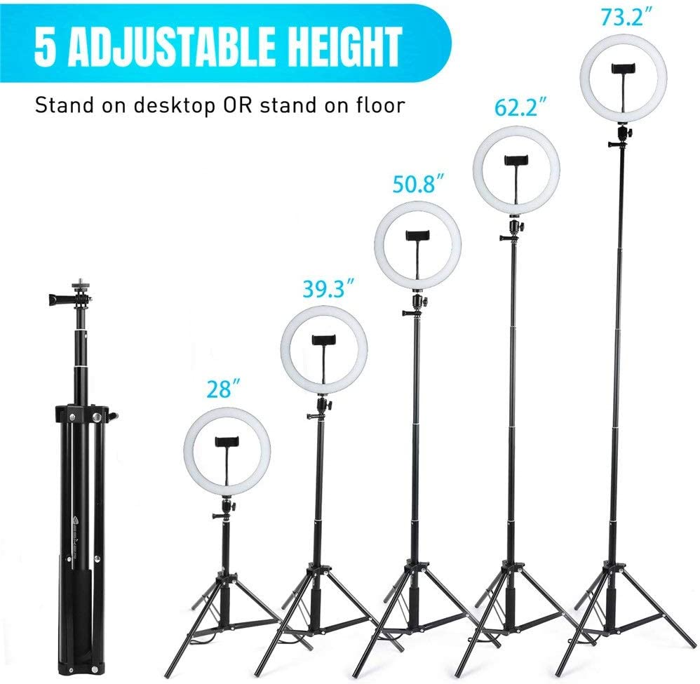 Yh9u Selfie Ring Light 10.2 Dimmable with Tripod Stand /& Cell Phone Holder Mini Led Camera Ringlight for Live Streaming//Makeup//YouTube Video//Photography Remote Control