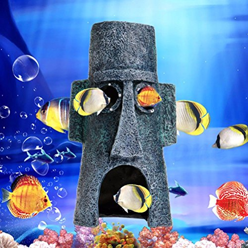 SQingYu Aquarium Landscaping/Dodge House/Aquarium Decoration SpongeBob Cylindrical House Human Pillars,Artificial Pineapple House Fish Tank Ornament(Human pillar)