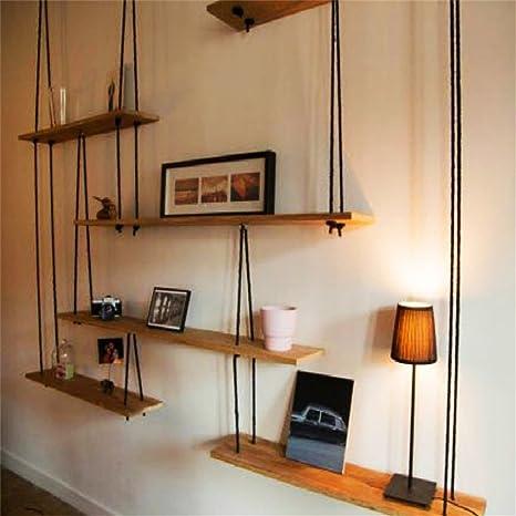 Mensola a muro in legno massello con mensole in corda di canapa ...