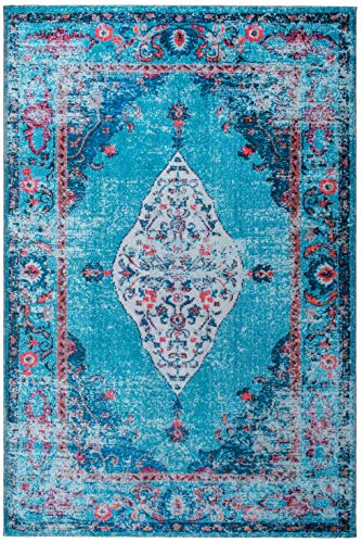 (Mylife Rugs Imperia Collection Traditional Vintage Non Slip (Non-Skid) Machine Washable Distressed Area Rug (5'x7', Red - Turquoise))