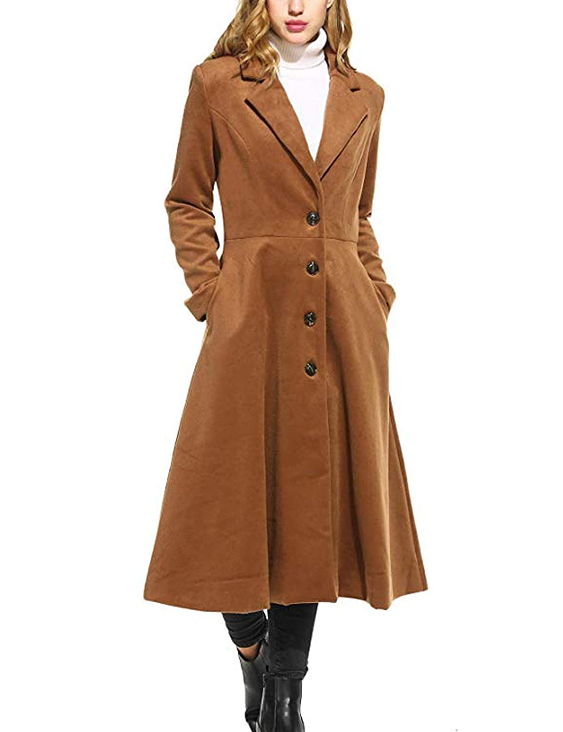 Palazen Women Single Breasted Overcoat Long Trench Coat Outerwear, S-3XL