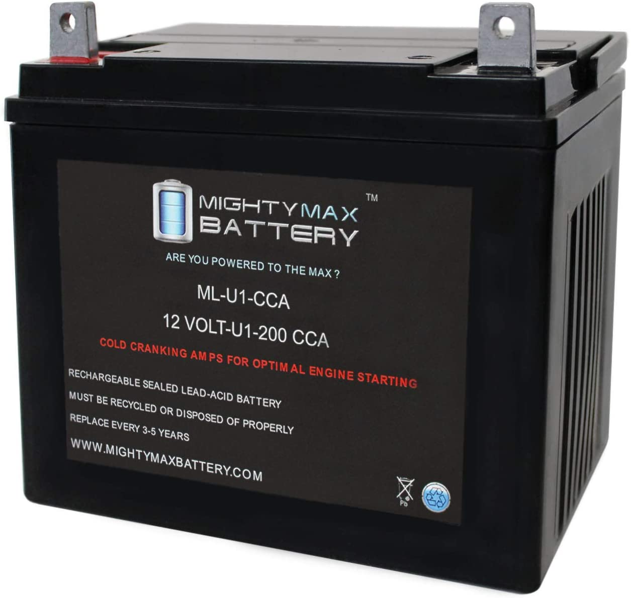 Mighty Max Battery ML-U1 12V 200CCA Battery Best Lawn Mower Battery