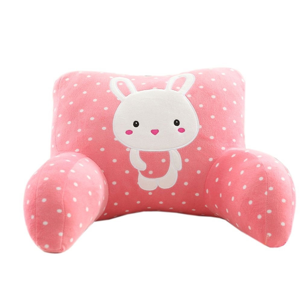 Firstsight Pink Rabbit Backrest Pillow Lounger Cute Kids Bed Rest Pillows with Arms for Reading in Bed