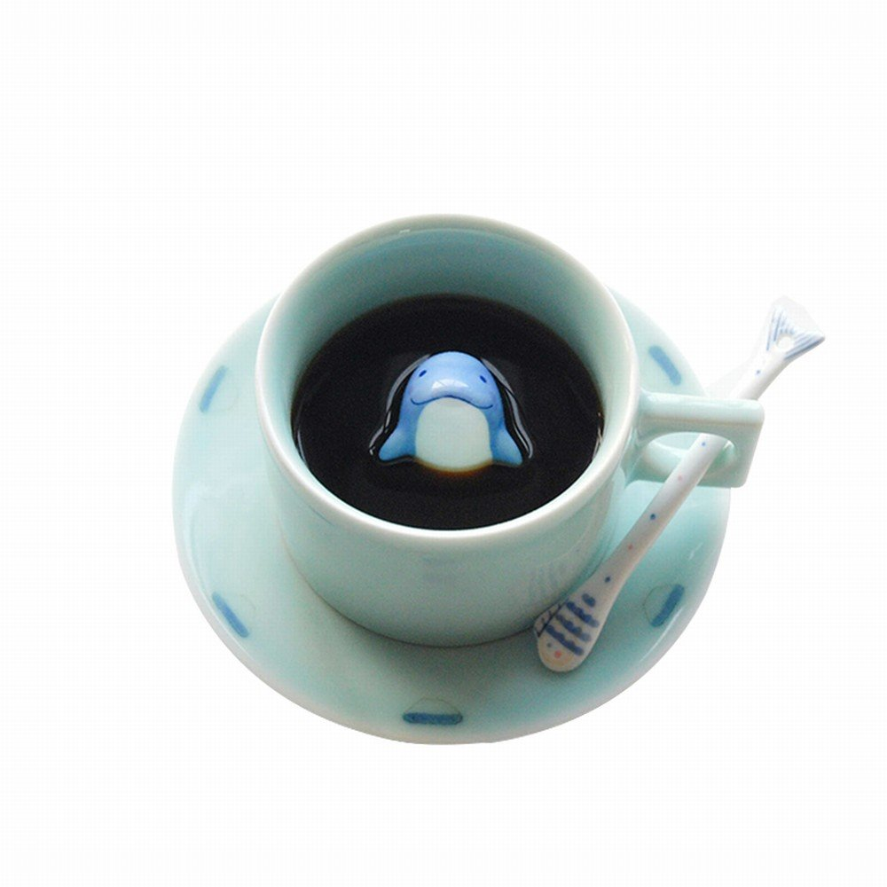 DHG Three Shallow Dolphin Coffee Cups Cup Creative Couple Handmade Hand-Painted Ceramic Afternoon Tea Tea Set,A