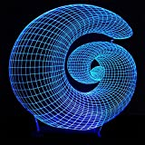 BEIGU Spiral 3D Optical Night Lamp Abstract Visual Desk Lamps with Base 7 Colors Changing Furniture Decoration for Boys Friend Festival Gift