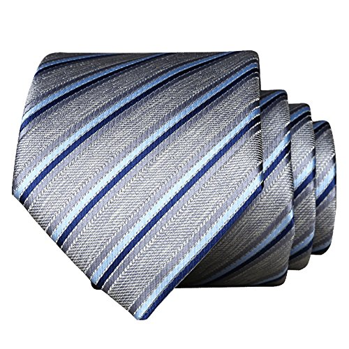 (Necktie For Men 【EVANHOME】 Trendy Men's Striped Tie Tie Knot 2.8 inches Gift Wrapping (Silver Blue White - Solid Stripes))