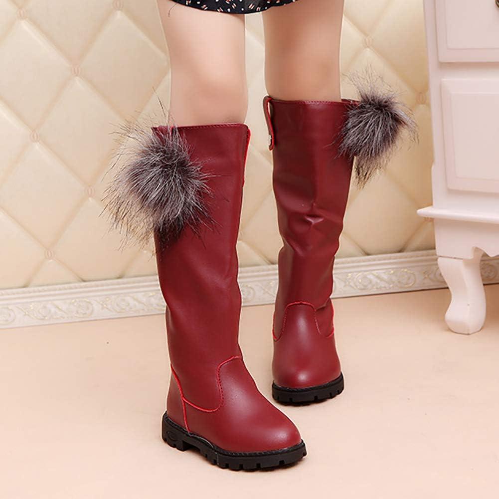 UBELLA Girls Waterproof Pom Pom Back Zipper Fur Tall Riding Boots Toddler//Little Kid//Big Kid