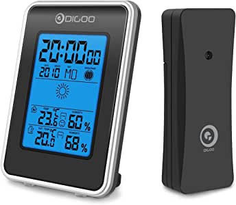 DIGOO TH1981 Indoor&Outdoor Thermometer, Weather Station Blue Backlit Hygrometer, Outdoor Forecast Sensor with Alarm Clock