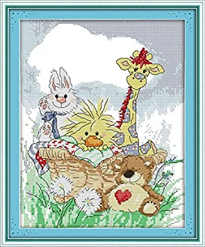 Joy Sunday Cross Stitch Kit 14CT Stamped Embroidery Kits Precise Printed Needlework Fly Side by Side 42/×37CM