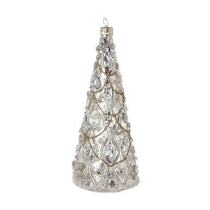 raz christmas hand blown gem bead encrusted tree shaped ornament