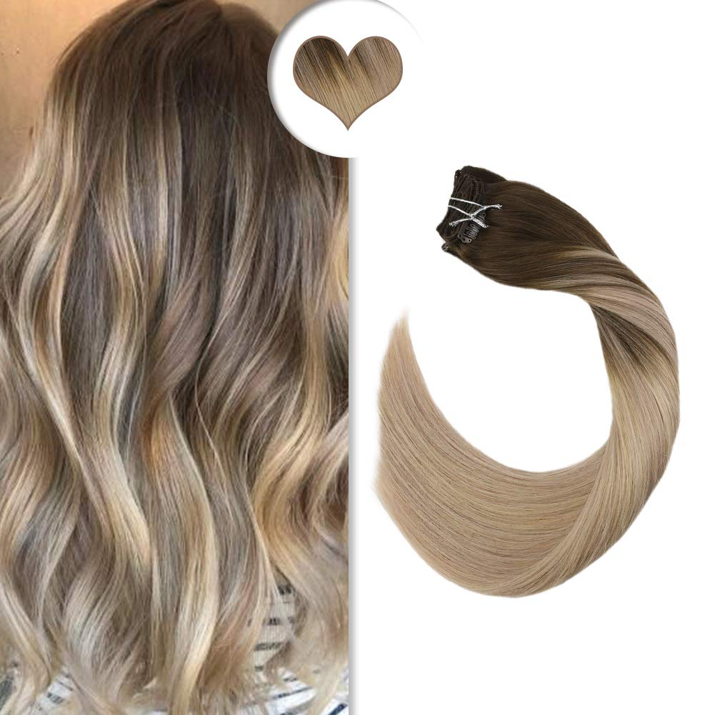 Ugeat Dip and Dye Ombre Clip in Human Hair Extension 14 Inch Remy Full Head Brown to Blonde 10PCS 120Gram Remy Clip in Extensions by Ugeat