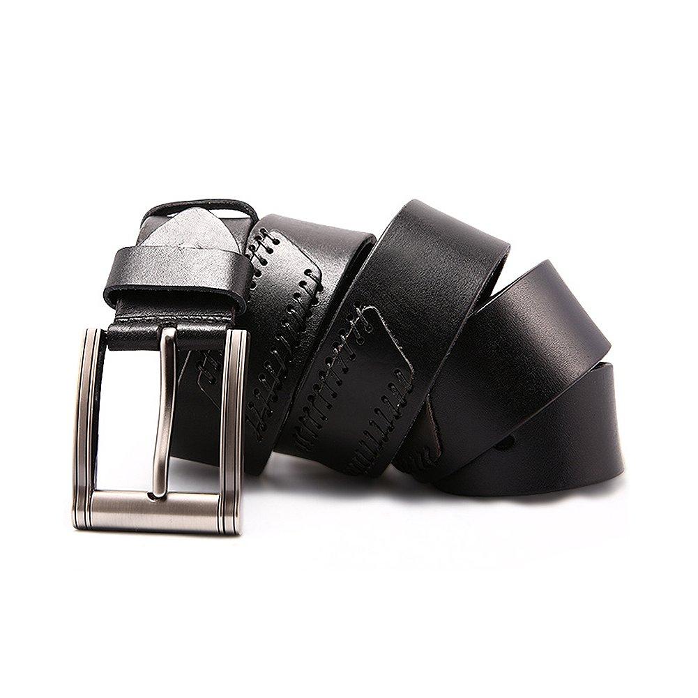 JOYIR Mens Genuine Leather Belt Retro Metal Pin Buckle Waistband