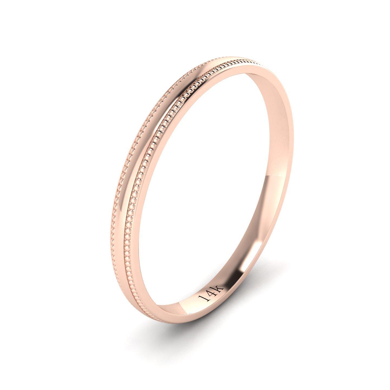 Unisex 14k Rose Gold 2mm Light Court Shape Comfort Fit Polished Wedding Ring Milgrain Band (10)