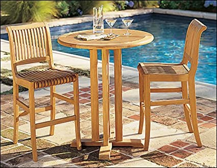 Amazoncom GradeA Teak Wood Giva Piece Bar Set Round Bar - Teak pub table and chairs