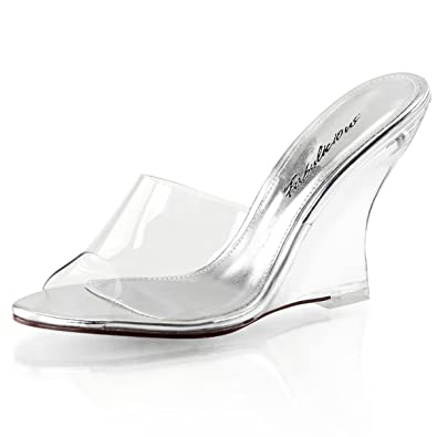 Summitfashions Womens Slip On Shoes Clear Slides 4 Inch Heel Wedges Sandals  Clear Strap Heel Size