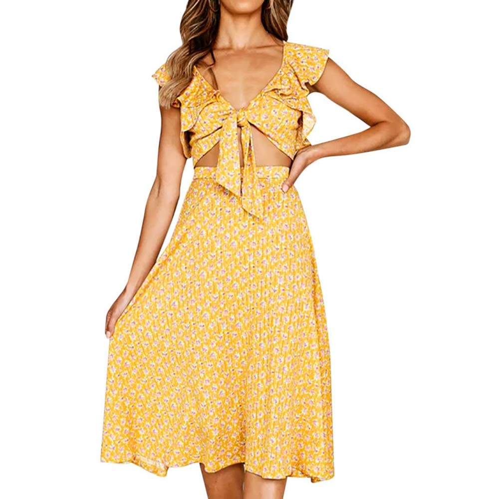 Libermall Women's Dresses Summer Bowknot Front Slim Fit Suit Sets Print Sundress Party Mini Dress 2Pcs Yellow