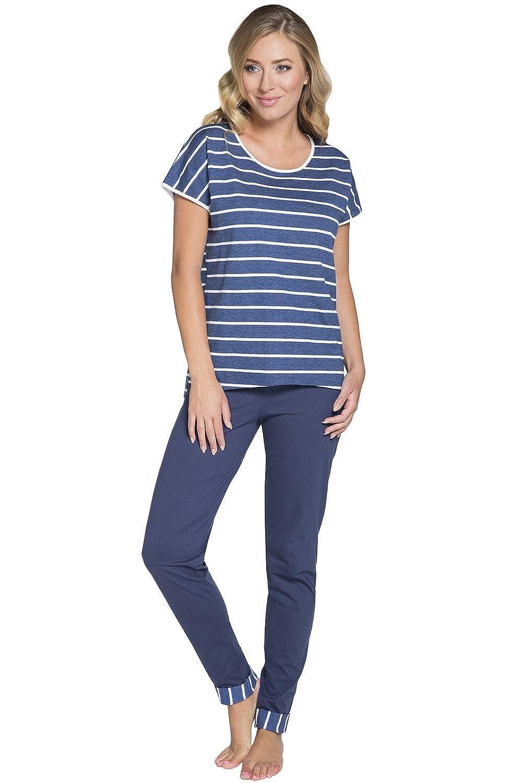 Italian Fashion IF Mujer Pijamas Astrid 0230 (Navy Azul/Blanco, S): Amazon.es: Ropa y accesorios