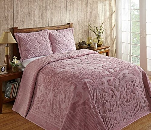 Better Trends / Pan Overseas Ashton 430 GSM Heavy Weight 100-Percent Cotton Chenille Tufted Bedspread, Queen, Pink ()