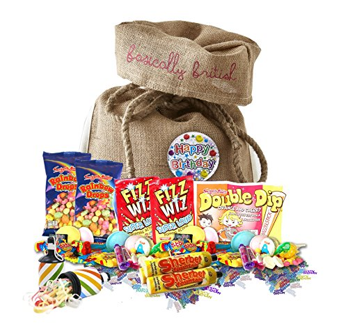 Scrumptious Happy Birthday Retro Candy 100 pieces Assortment in Basically British Burlap Gift Bag