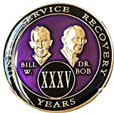 35 year AA Medallion Purple Tri-Plate Founders Bill & Bob Chip XXXV