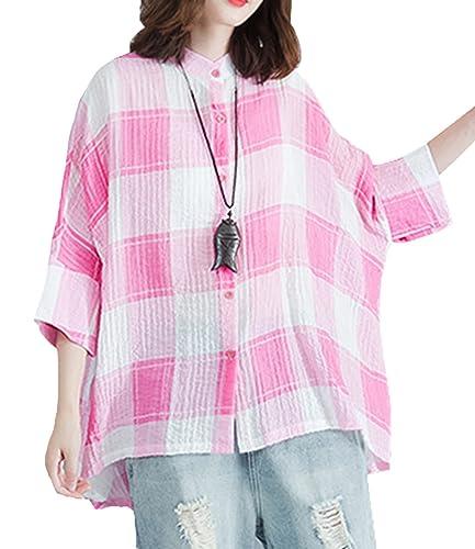 ELLAZHU Mujeres otoño Bat Ala Sleeves Crinkle algodón Blusa Plaid GA1028