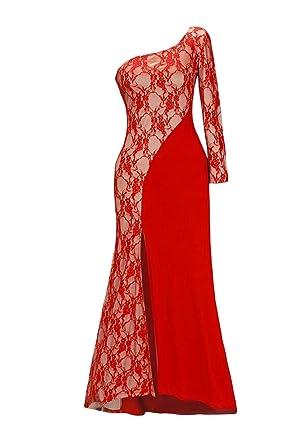 HX fashion Vestiti Donna Eleganti da Cerimonia da Sera Manica Lunga Una  Spalla Tubino Lunghi Abiti Vintage Pizzo Stitching Irregolare Asimmetrico  Stile ... 8db48ba2d76