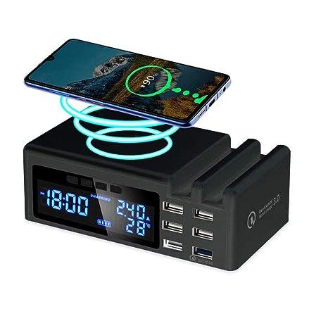 YUHT Cargador inalámbrico Cargador USB de 6 Puertos Carga ...