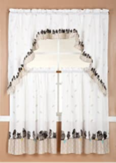 Charmant 3 Piece Kitchen Curtain Set: 2 Tiers And 1 Valance (Owl)