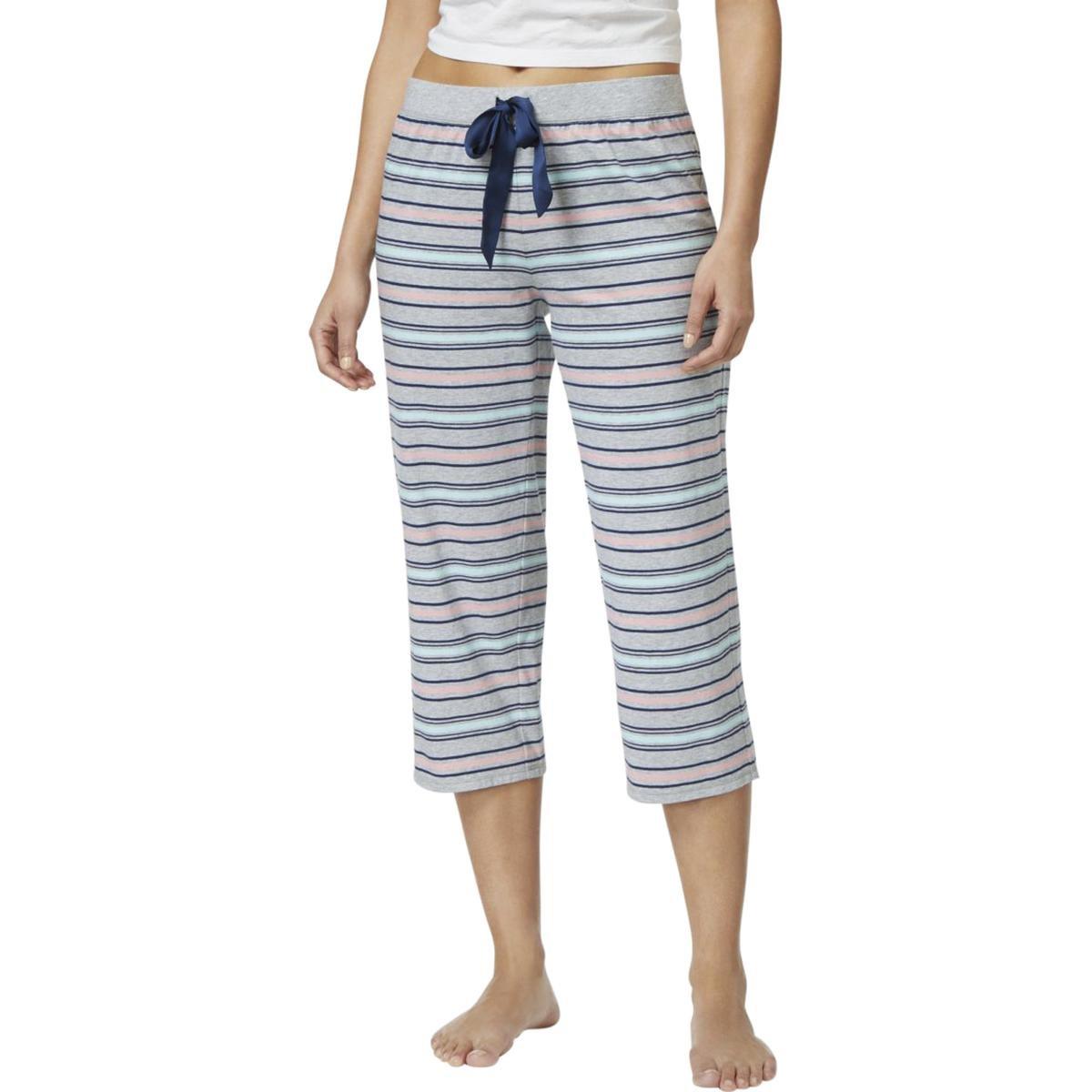 Jenni by Jennifer Moore Womens Striped Cropped Pajama Bottoms Gray XS