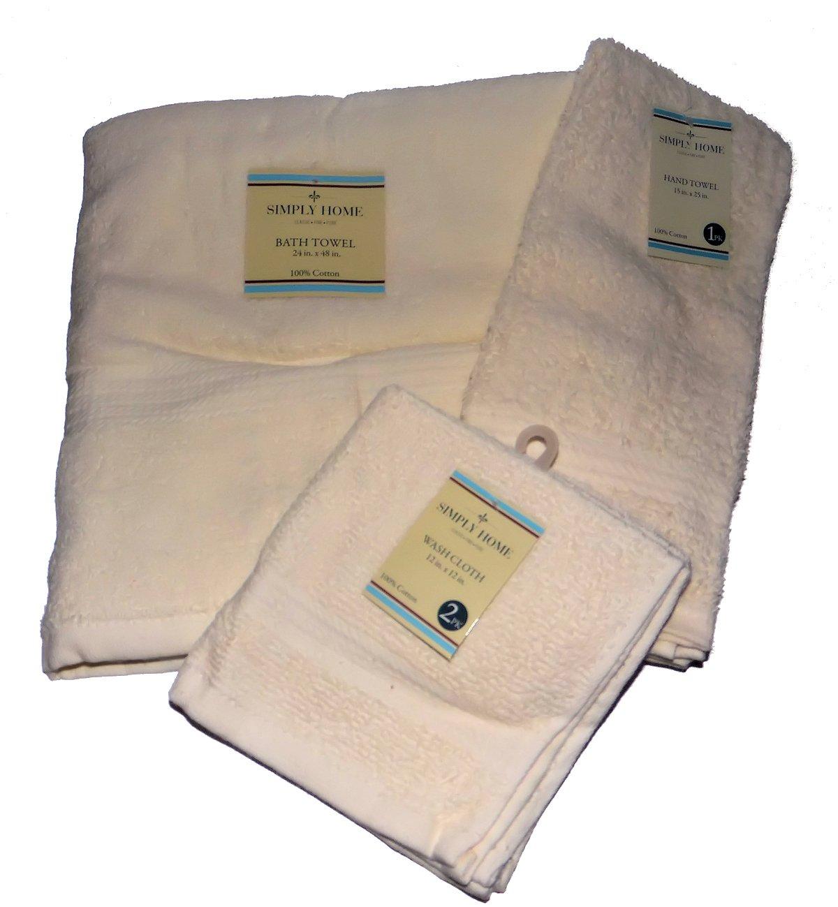 Solid Color Bath Towel Sets 4 Pieces Bath Towel, Hand Towel and 2 Wash Cloths 100% Cotton (Cream)