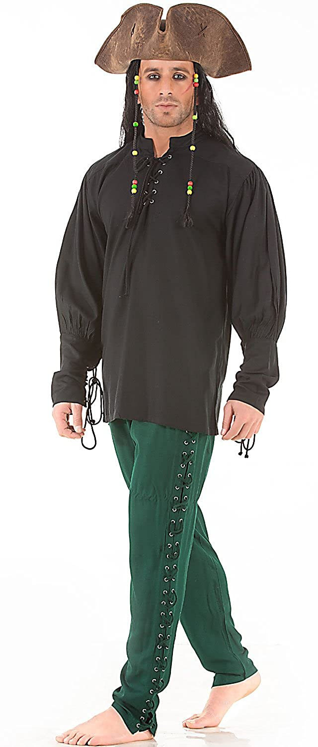 Men's Renaissance Green Lace-Up Leg Pirate Pants