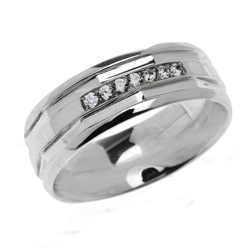 Men's 925 Sterling Silver Comfort Fit Modern Wedding Band with Diamonds (Size 11.5)