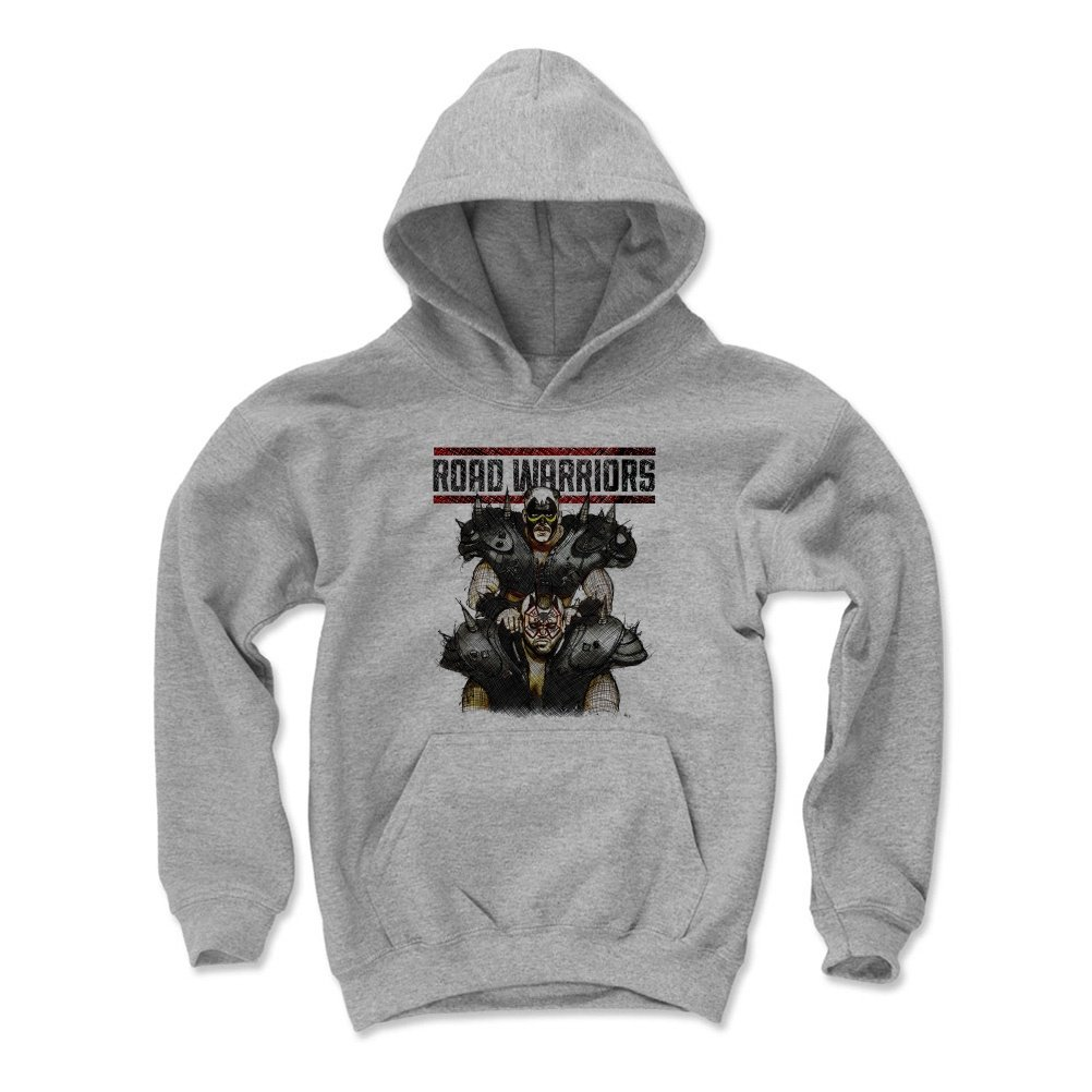 500 LEVEL Road Warriors Youth Hoodie - Kids Small Gray - Old School WWF Wrestling Apparel - Road Warriors Sketch K